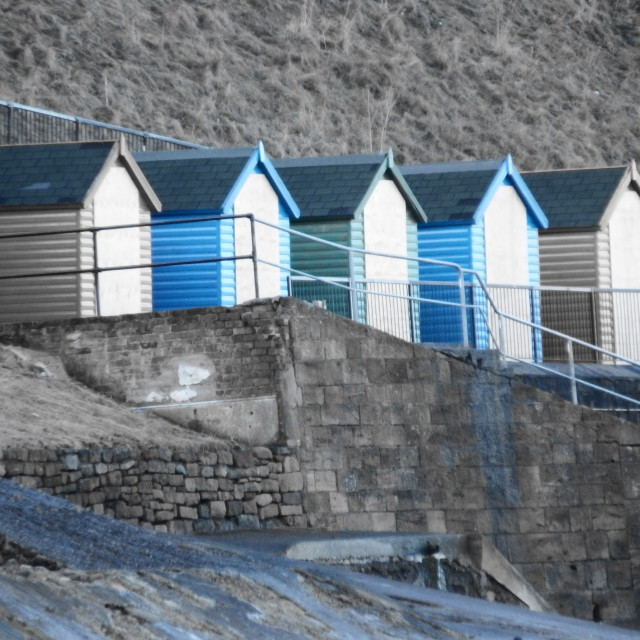 """""""Whitby Beach huts"""" stock image"""