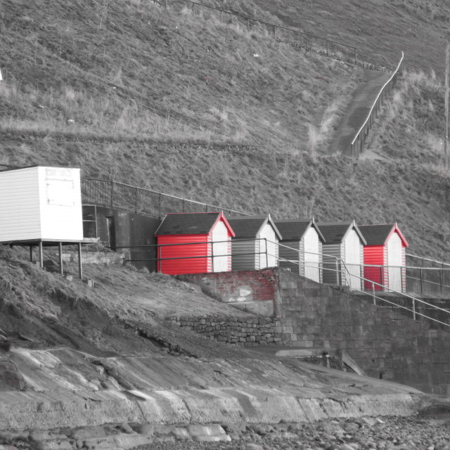 """""""Beach huts in Whitby"""" stock image"""