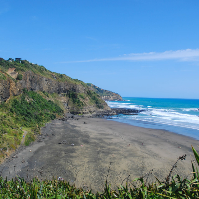 """Muriwai's black beaches"" stock image"