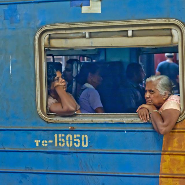 """TRAIN PASSENGERS"" stock image"