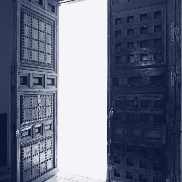 """""""Antique door ajar, outer glow"""" stock image"""