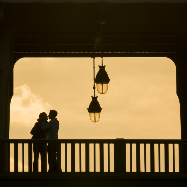"""Kiss on Paris bridge"" stock image"