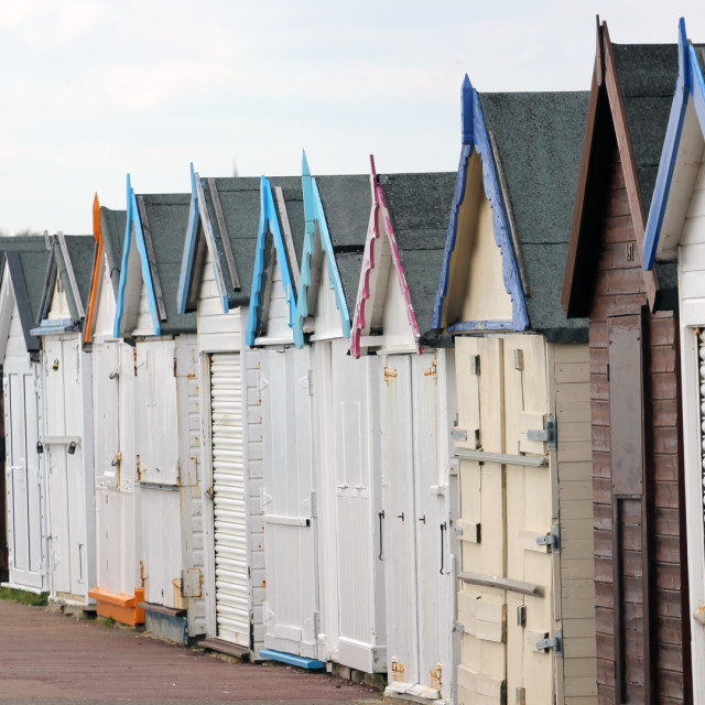 """Row of beach huts"" stock image"
