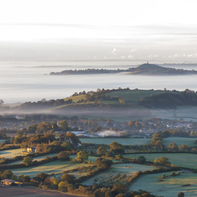 """Somerset levels in mist"" stock image"