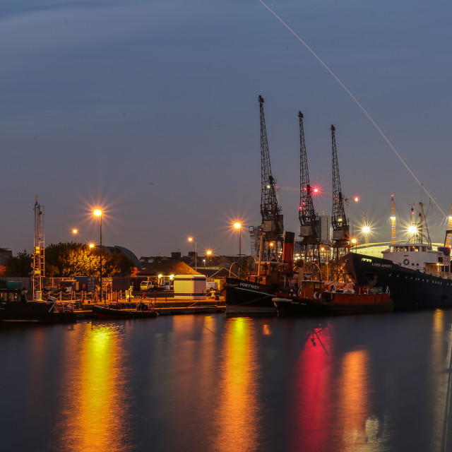 """""""Night time At The Docks"""" stock image"""