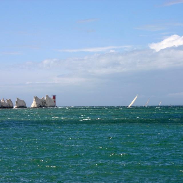 """""""Racing yachts at the Needles"""" stock image"""