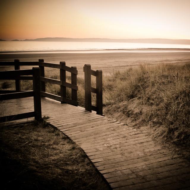 """""""Swansea Bay wooden walkway"""" stock image"""