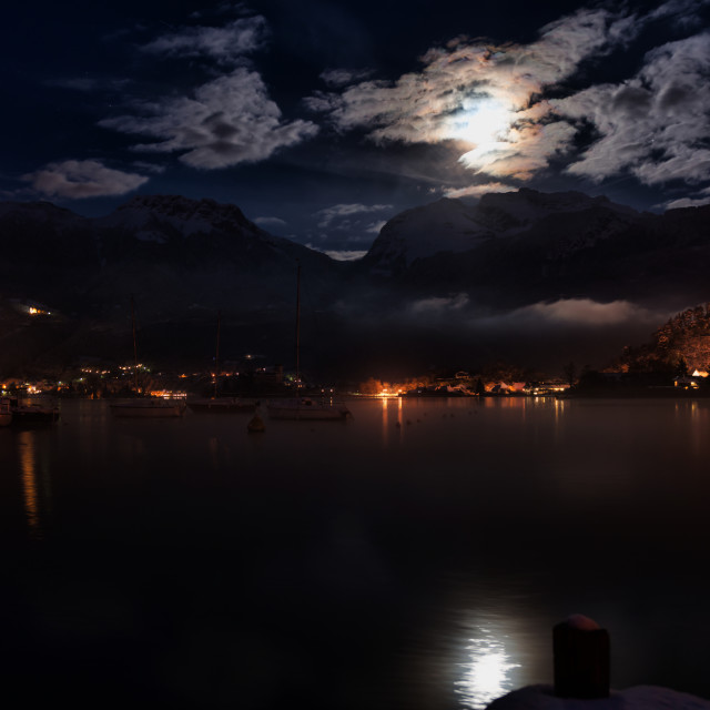 """lake and mountain night"" stock image"