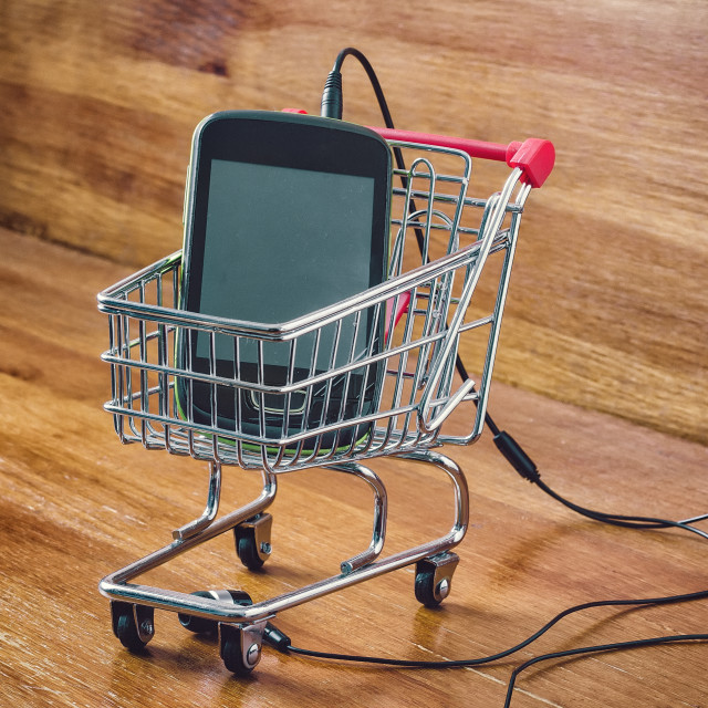 """small shopping cart and smartphone"" stock image"