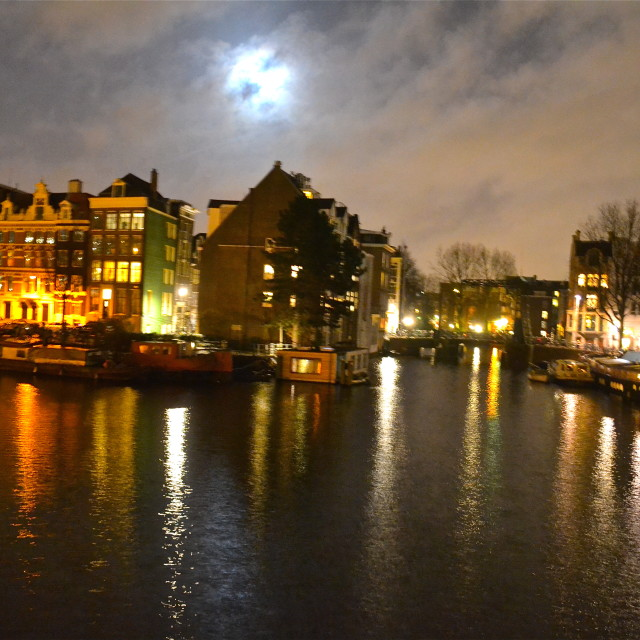 """Amsterdam by night"" stock image"