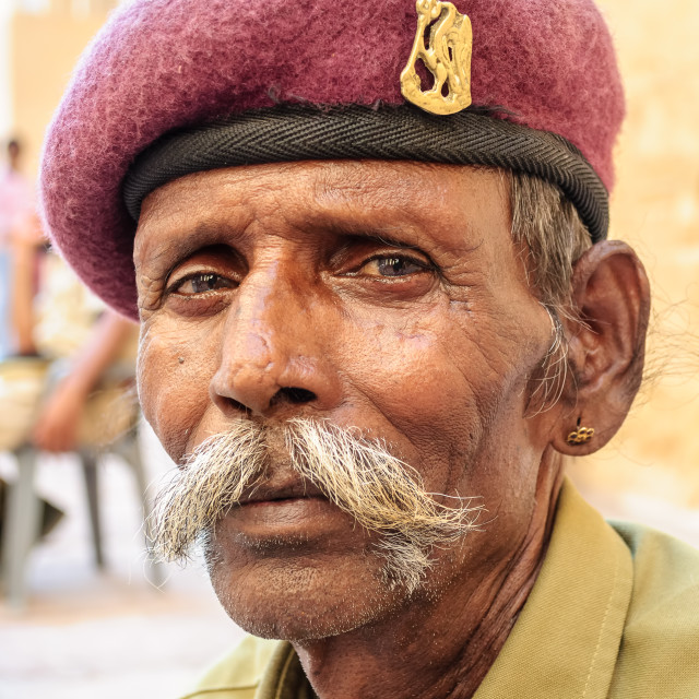 """An old guard of Mehrangarh Fort, Jodhpur"" stock image"