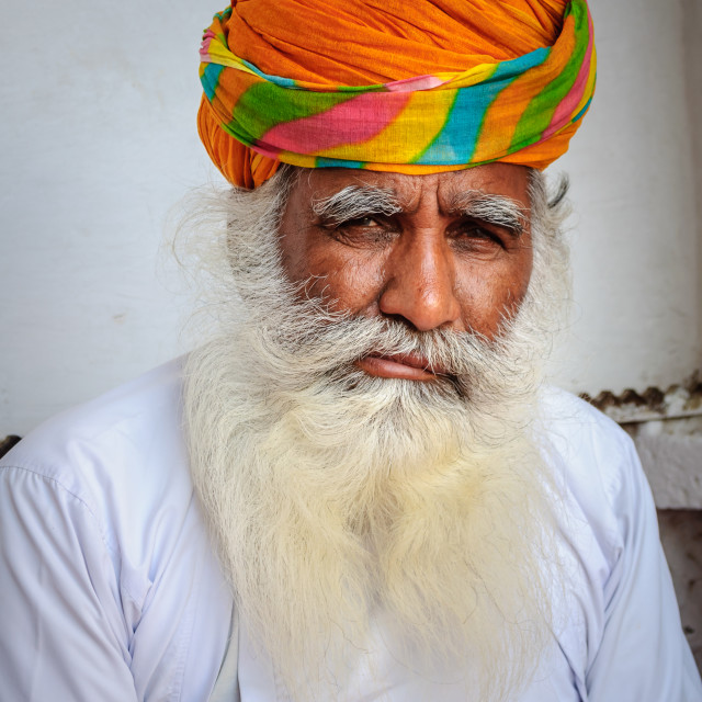 """Portrait of a bearded Rajasthani old man"" stock image"