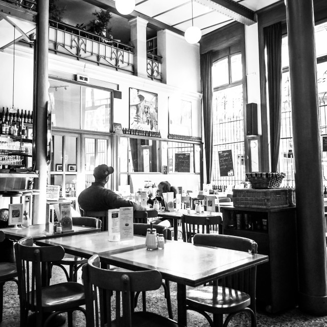 """Quiet Break at Cafe Horta B&W"" stock image"