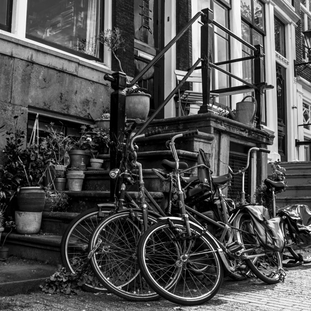 """Black and white Amsterdam street scene with bikes"" stock image"