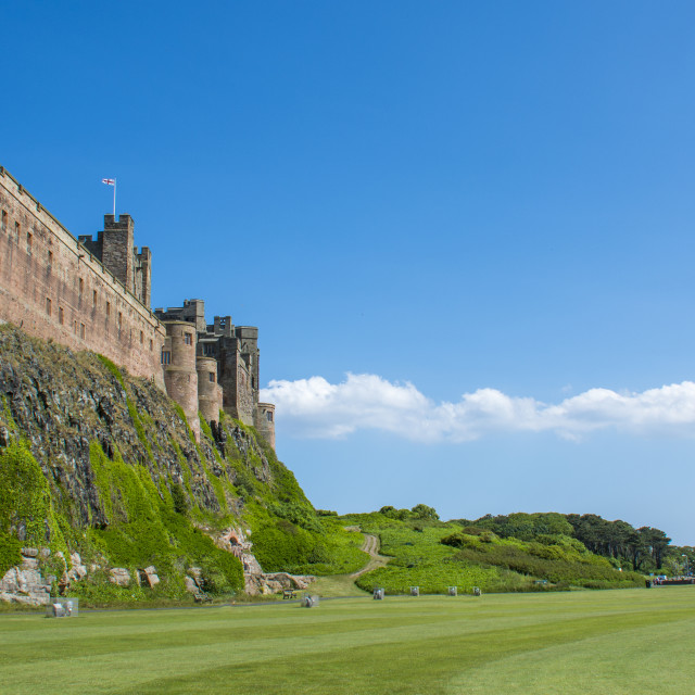 """Bamburgh Castle with copy space"" stock image"