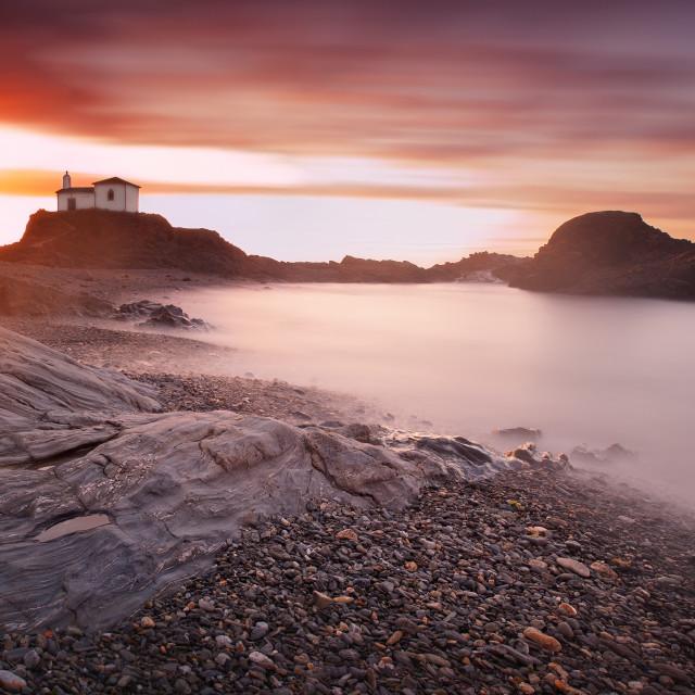 """Panoramic seascape of Virxe do Porto chapel"" stock image"