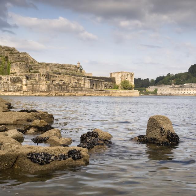 """Castle of San Felipe and La Palma in the estuary of Ferrol"" stock image"