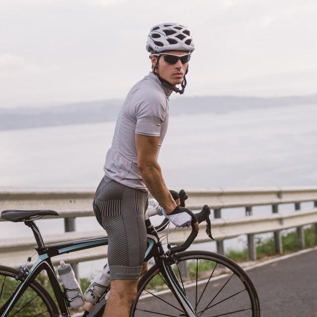 """Cyclist portrait"" stock image"