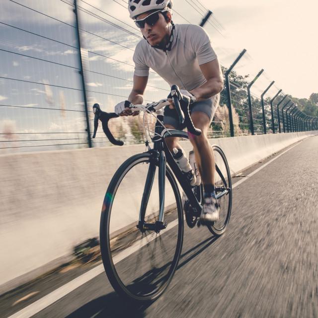 """Cyclist in maximum effort"" stock image"