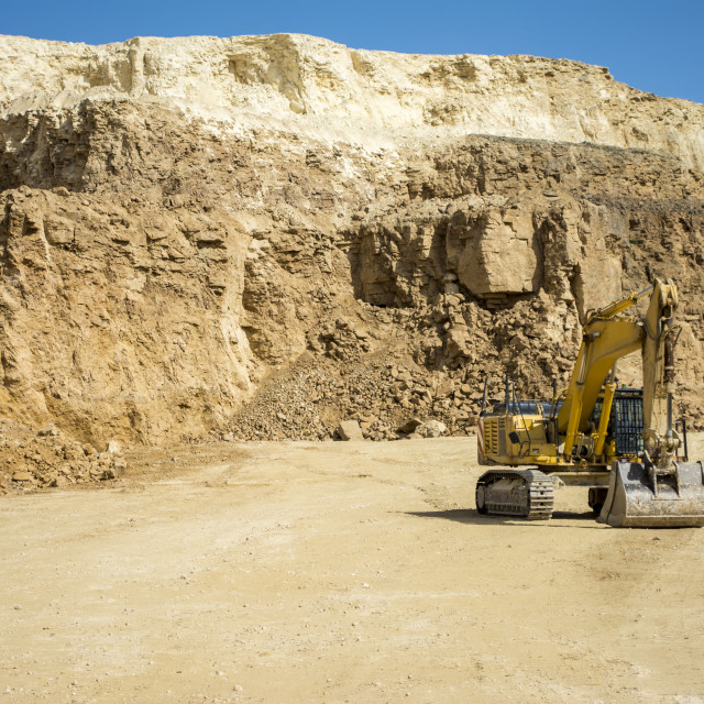 """""""Excavator at Quarry site"""" stock image"""