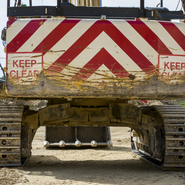 """""""Rear of excavator at quarry site"""" stock image"""