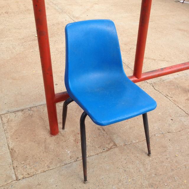 """Blue Plastic Chair"" stock image"