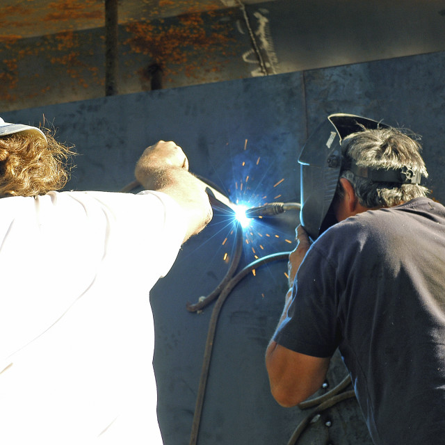 """welders with work"" stock image"