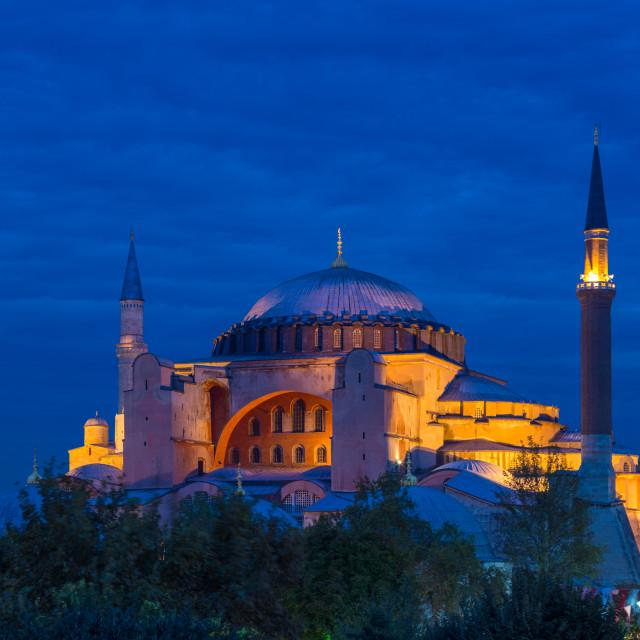 """Hagia Sophia as NIght Falls"" stock image"