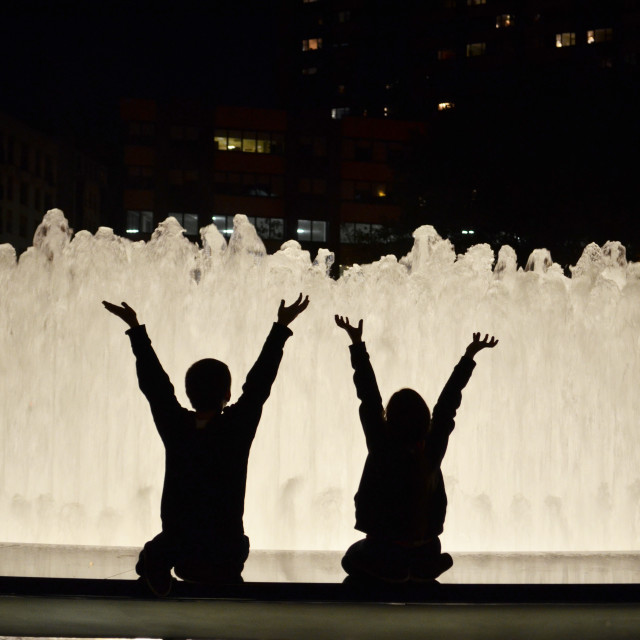 """""""Kids at the Fountain"""" stock image"""