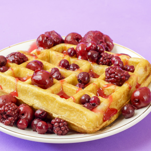 """waffles with red berries"" stock image"