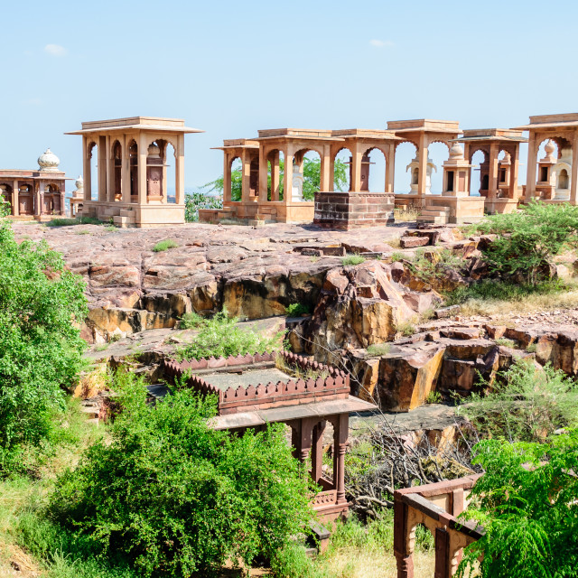 """Runis of cenotaphs at Jaswant thada"" stock image"