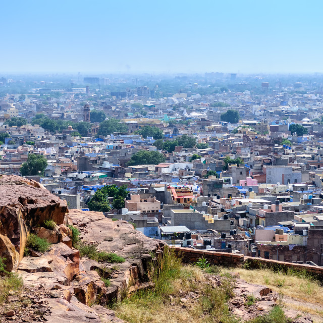 """Jodhpur, the blue city as seen from Jaswant Thada"" stock image"