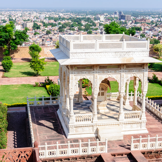 """Marble cenotaphs of Marwar Kings"" stock image"