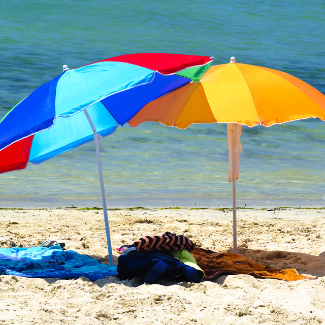 """Two colorful parasols"" stock image"