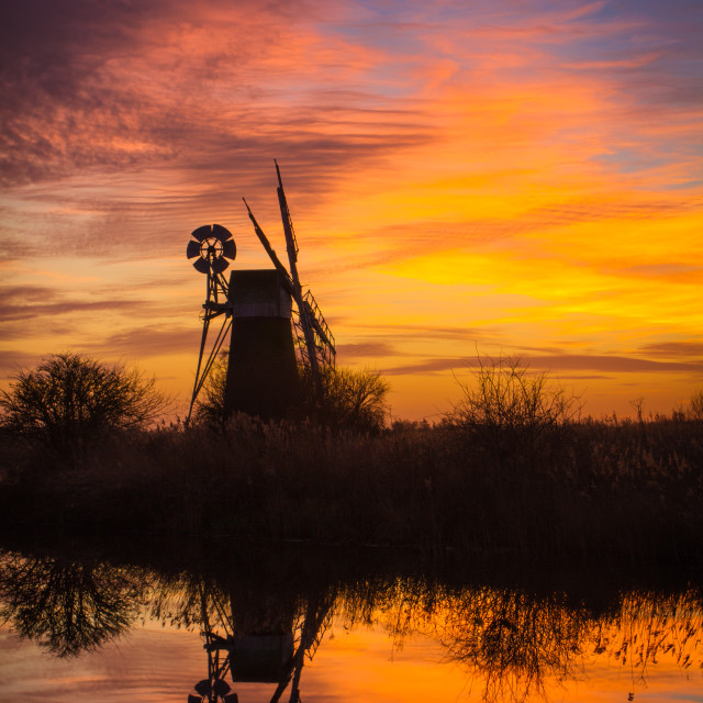 """Turf Fen at sunset"" stock image"