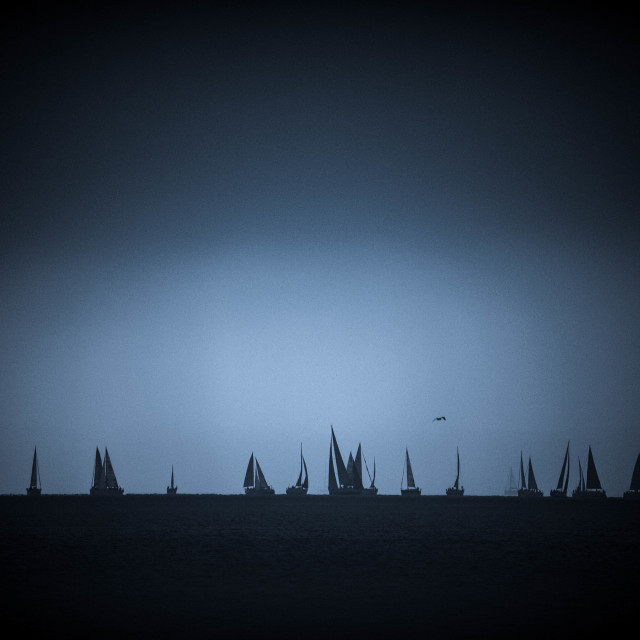 """""""Yachts in Fog"""" stock image"""