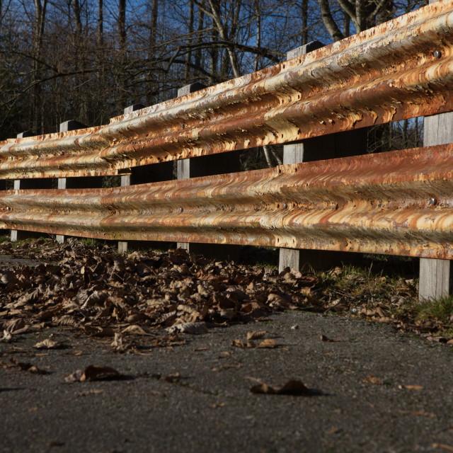 """""""Rusting Guardrail"""" stock image"""