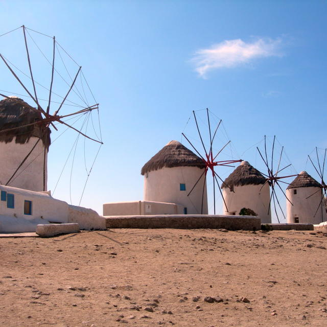 """Mykonos Windmills"" stock image"
