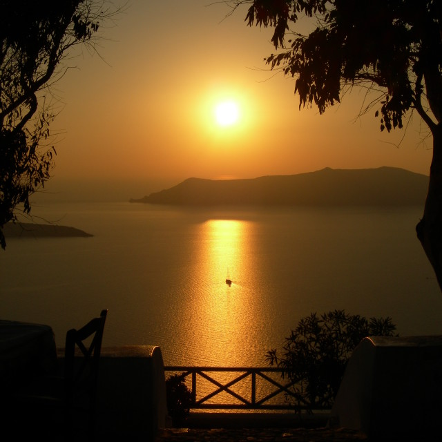 """Santorini Sunset"" stock image"