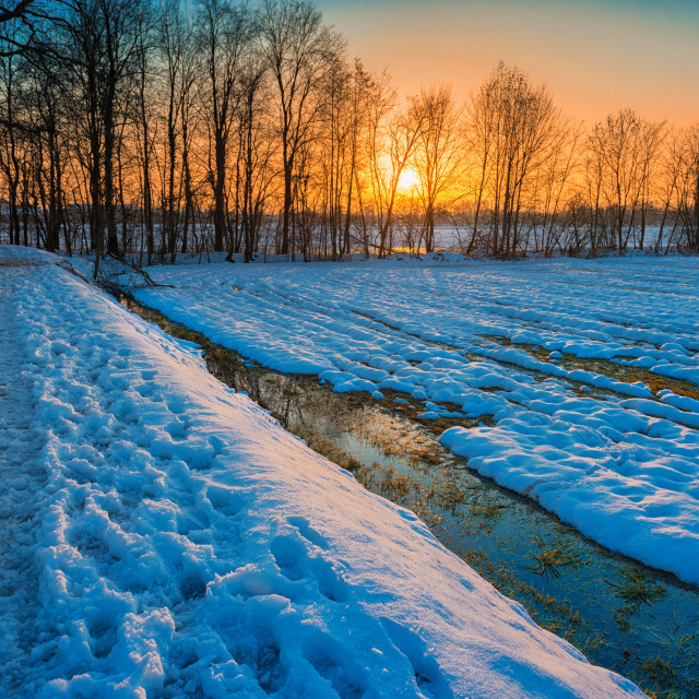 """Sunset on snowy landscape"" stock image"