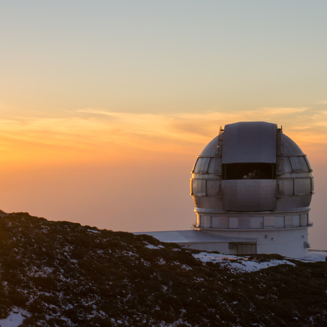 """Sunset in the Astrophysical Observatory of the Roque de los Much"" stock image"