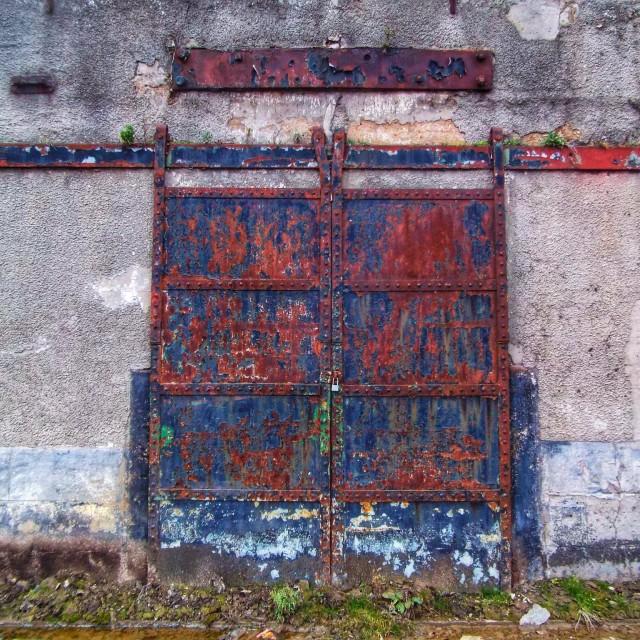 """""""Blue Red Dock doors"""" stock image"""