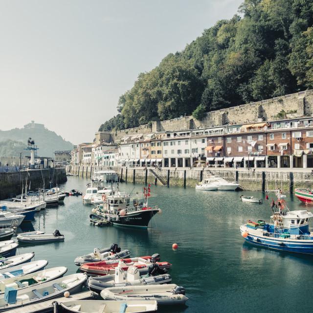"""San Sebastian harbour"" stock image"