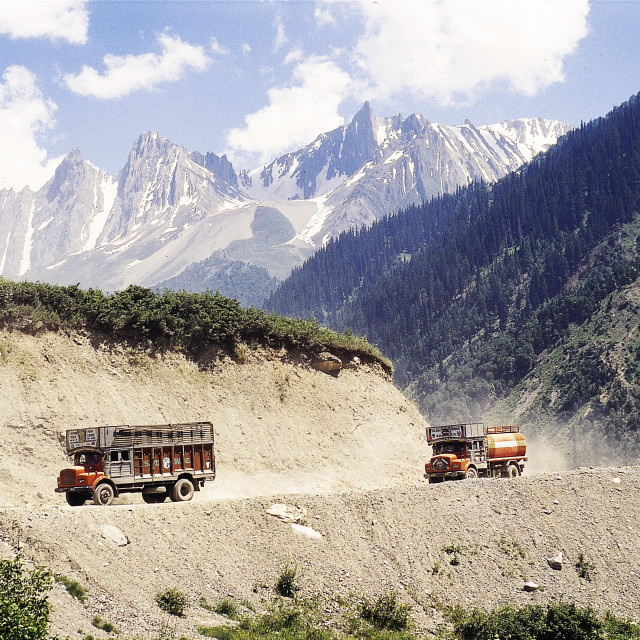 """Truck on Leh Highway also known as National Highway"" stock image"