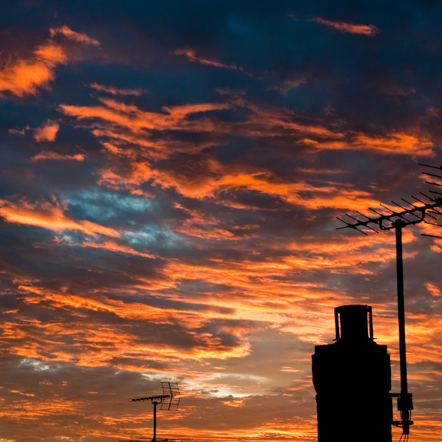 """Rooftop Sunset"" stock image"