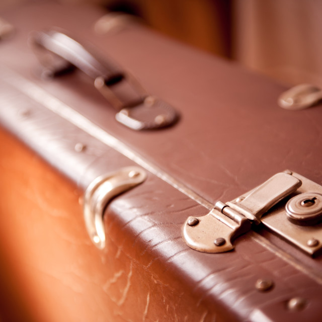 """latch lock in vintage luggage sepia toned"" stock image"
