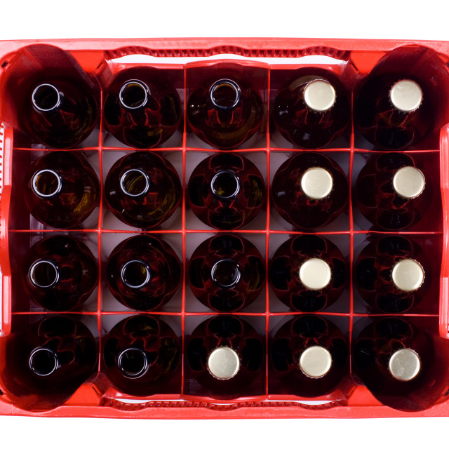 """""""glass empty and full bottles of beer in crate"""" stock image"""