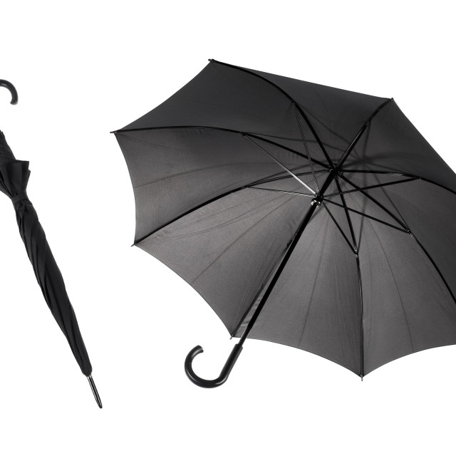 """Bottom view at one close and open black umbrella"" stock image"