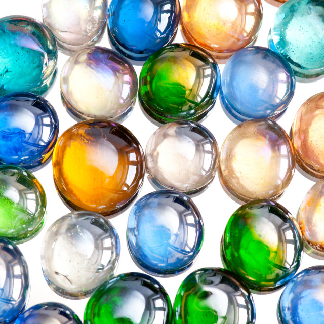 """""""multicolored glass balls or marbles mix on white"""" stock image"""
