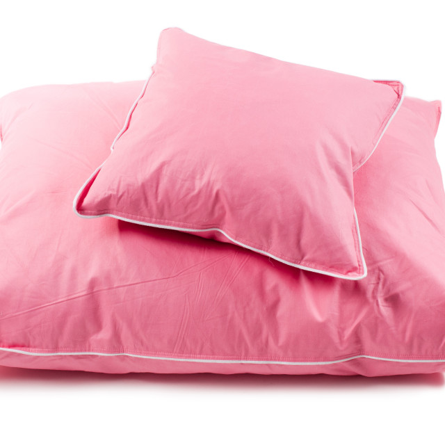 """Pink cotton fluffy two pillows without cover"" stock image"